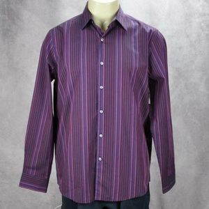 Tasso Elba Mens Striped Button Front Long Sleeve S